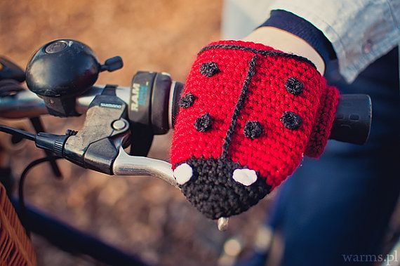 Ladybug bike hand warmers, adult size, bike gloves, spring crochet accessories for bike riders, spring trips, funny animals, red, black