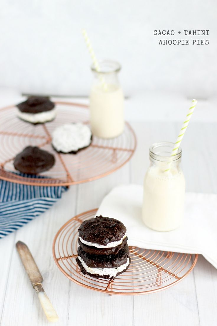 Cacao + Tahini Whoopee Pies. #sugarfree + #vegan