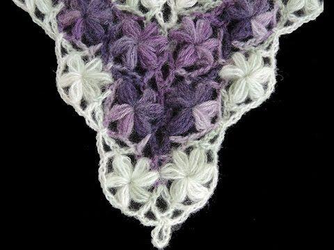 """En esta oportuntidad aprenderemos a realizar este bello Punto en Crochet de Flores Puff en forma de """"V""""."""