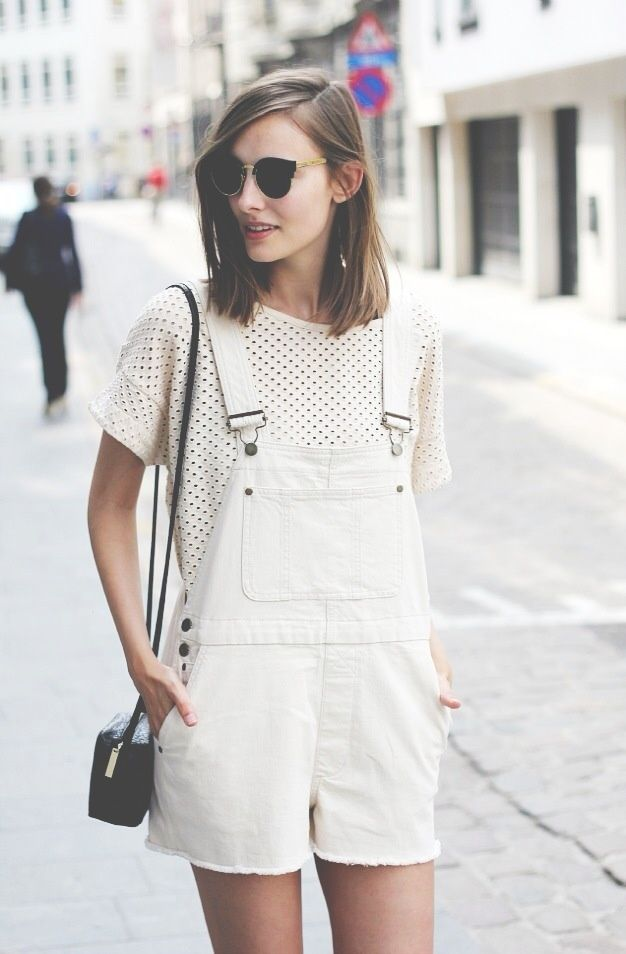 Shop this look for $58:  http://lookastic.com/women/looks/white-overall-shorts-and-white-and-black-crew-neck-t-shirt-and-black-leather-crossbody-bag/1310  — White Overall Shorts  — White and Black Polka Dot Crew-neck T-shirt  — Black Leather Crossbody Bag