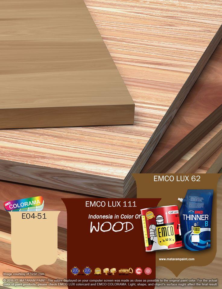 Finishing pada kayu penting karena selain melindungi kayu dari kondisi luar, juga dapat memberikan estetika pada kayu tersebut dengan menonjolkan kekurangan dan kelebihan kualitas kayu. Jika ingin kayu untuk bangunan dan perabot-perabot anda jadi lebih indah dan awet, EMCO bisa membantu mempercantik dengan warna EMCO LUX 111, EMCO LUX 62 dan E04-51 pada palet EMCO. Untuk artikel menarik lainnya silakan cek di http://matarampaint.com/news.php