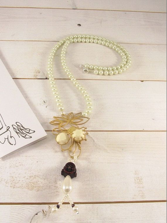 Gold Plated Silver vintage necklace with pearls. Handmade Gold Plated Retro Necklace with  motif. Bridal Necklace