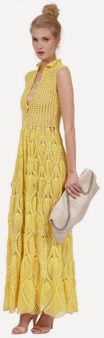 Crochê Tricô - Gráficos: Vestido Lindíssimo em Crochê