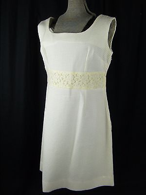 Vtg 60-70s White Cotton Puckered/Yellow Lace Mod Dress-Bust 39/M