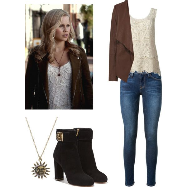 Rebekah Mikaelson - tvd / the originals / the vampire diaries by shadyannon on Polyvore featuring Oasis, Frame Denim, Salvatore Ferragamo, womens clothing, womens fashion, women, female, woman, misses and juniors