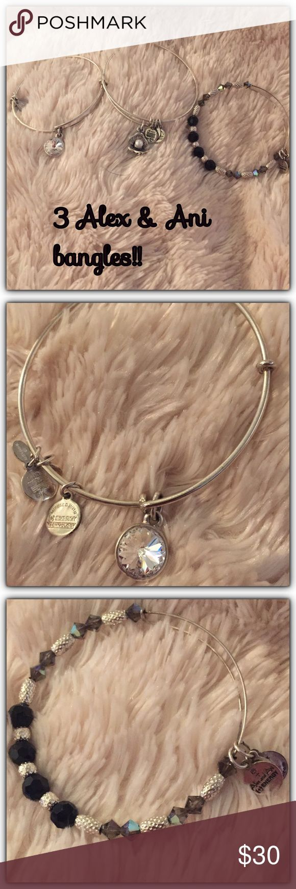 3 Alex & Ani bangles! 3 deal bundle of Alex & Ani silver bangles. One is svarkoski crystal bead, the other one is a multi-crystal black and silver and third is a pearl inside shell. Take all for this low price! Real Alex and Ani! Alex & Ani Jewelry Bracelets