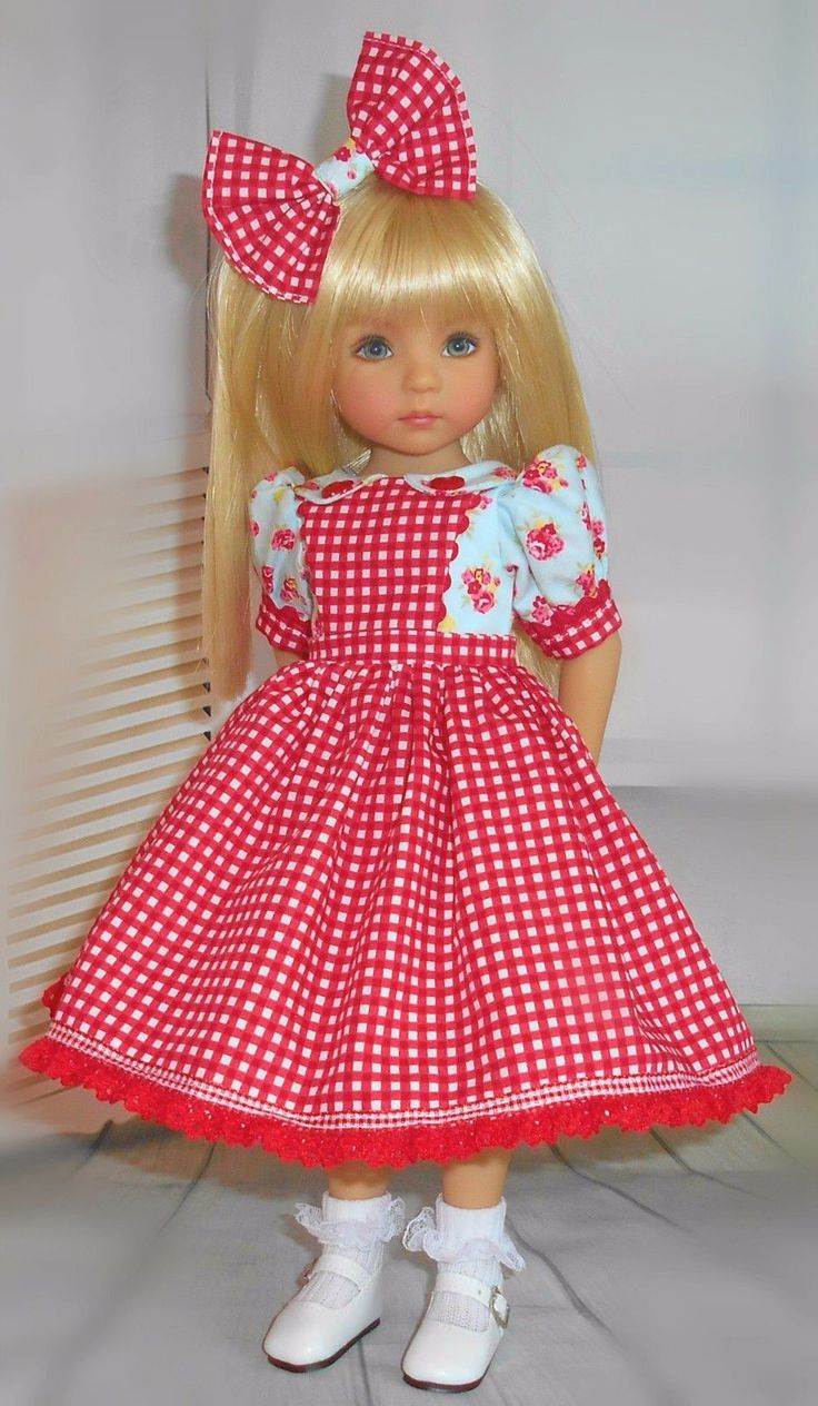Handmade dress and hair bow fits for Little Darling 13''