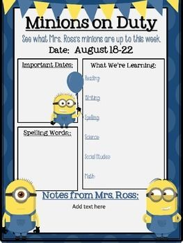 Want to keep your parents informed about what is happening in you classroom this year and include your theme?? Then this minion themed classroom newsletter is perfect! All text boxes are editable!!!