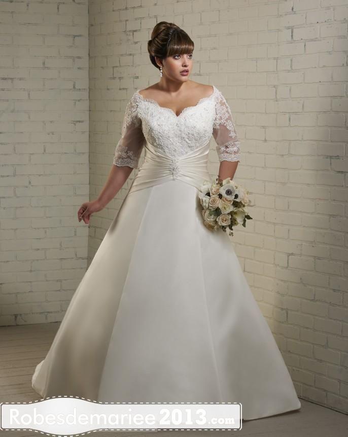 Graceful A-Line Amoureux demi-manches train chapelle Appliques Plus Size robe de mariée