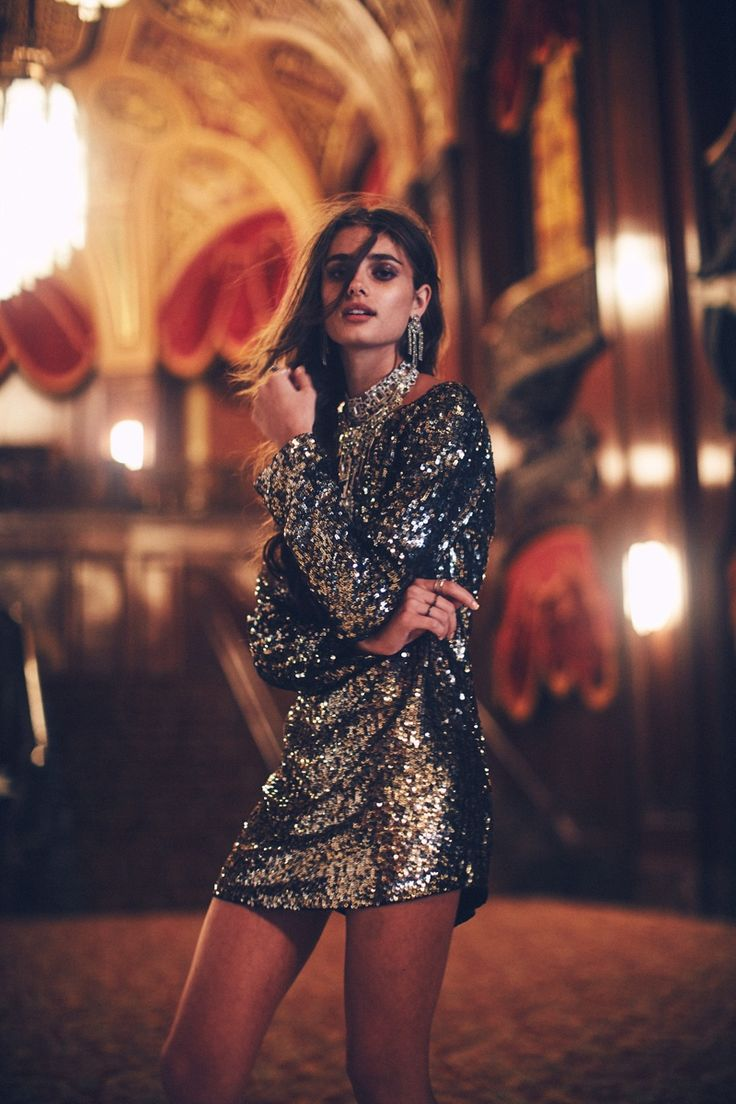 Taylor Hill wears Gold Sequin Tunic for November 2015 Lookbook Photoshoot