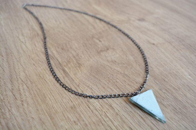 Blue triangle necklace - geometric pendant - BGLASSbcn - Zawieszki