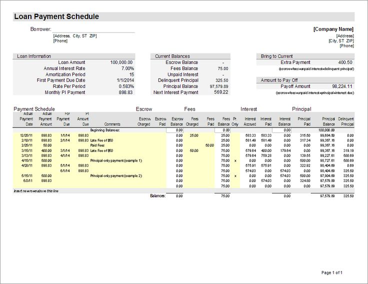 Loan Servicing Spreadsheet  Miscellaneous