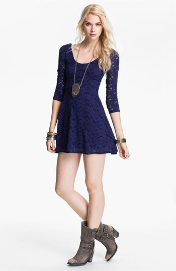 I would Seriously love this dress if it were a bit longer....  Free People Lace Minidress | Nordstrom