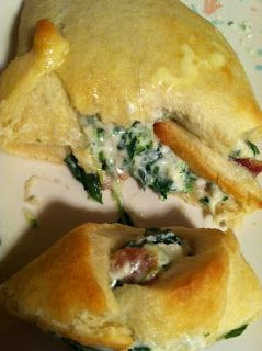 Review by Lyndee: 1 Pillsbury crescent roll tube 1 pound bacon 1 can diced chicken breast (optional) 9 oz green giant spinach...
