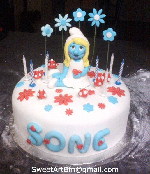 Smurfette Cake For more information & orders, Email: sweetartbfn@gmail.com; Call 0712127786,; Follow me on Facebook: https://www.facebook.com/groups/SweetArtCakesBloemfontein/ & Pinterest: http://www.pinterest.com/SweetArtCakeBfn/bloemfontein-cakes/