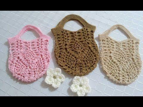 Mini bolsa en crochet puntada de piñas - YouTube