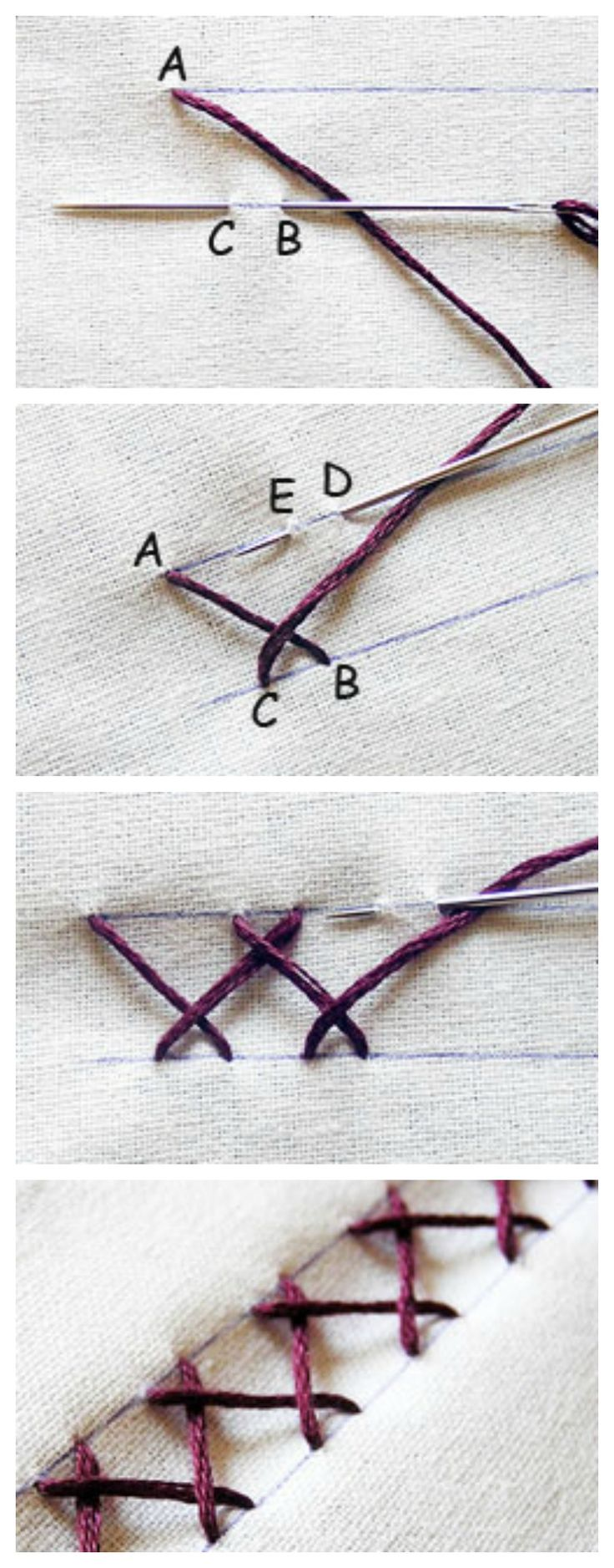 How to make a simple herringbone stitch #Embroidery #tutorial #DIY