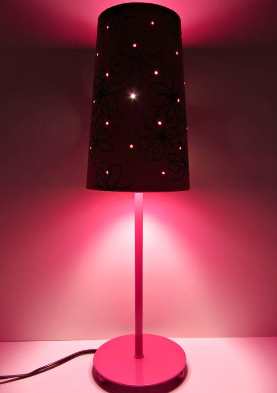 Hot Pink Metal Lamp With Retro Flower Lamp Shade And Punched Tin Holes By  #TheOrangeChairStudio. Orange Table LampsPink ...