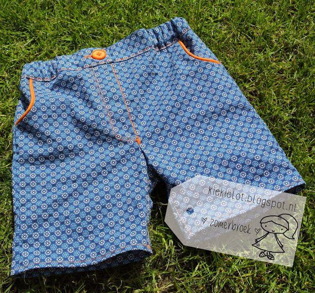 Zomerbroekje, korte broek, baby, katoen, babykleertjes, naaien, diy. http://kiekielot.blogspot.nl