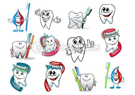 Dibujos animados. Diente higiene conjunto. Ilustración de stock.