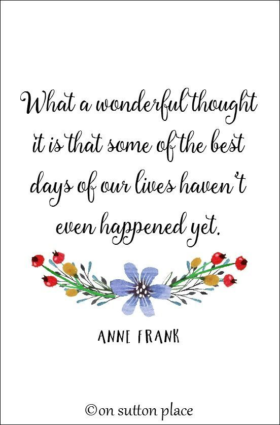 Anne Frank Quote Free Inspirational Printable | On Sutton Place | Part of a large collection of original printables. Use for DIY wall art, screensavers, cards, crafts, banners and more!