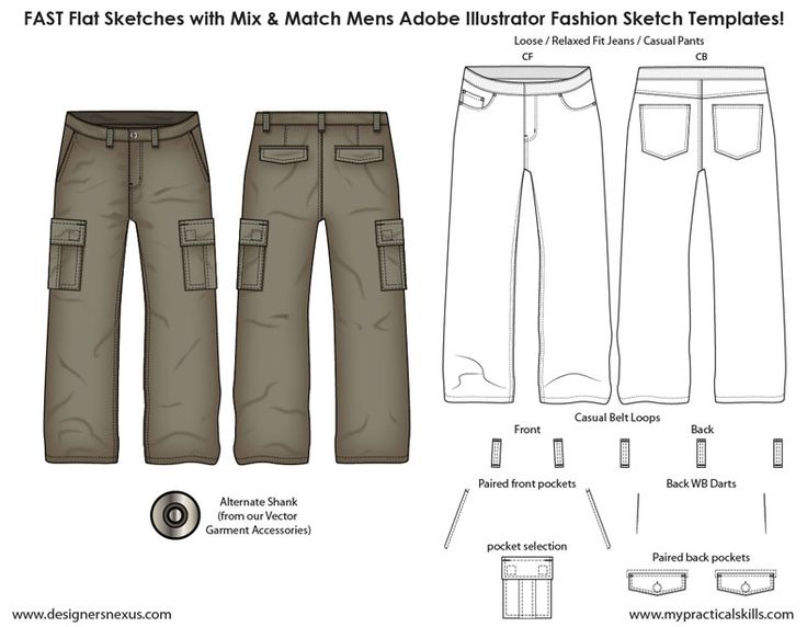 Mens Illustrator Flat Fashion Sketch Templates Sample