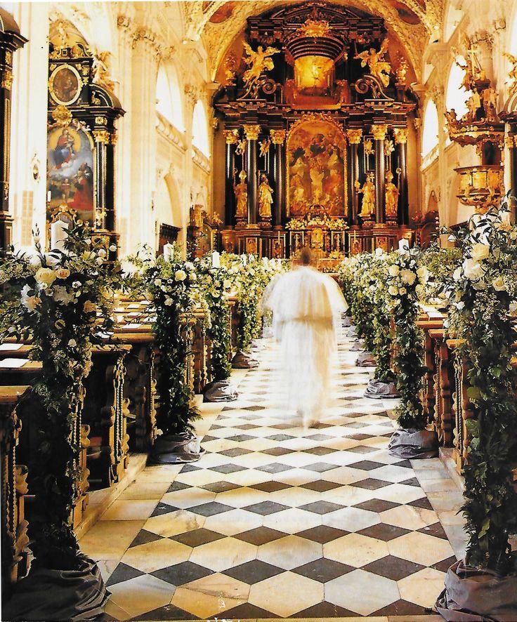 Church wedding aisle decorated with flowers. Nadja Swarovski to Rupert Adams, 2003, Town & Country, Austrian Splendor.