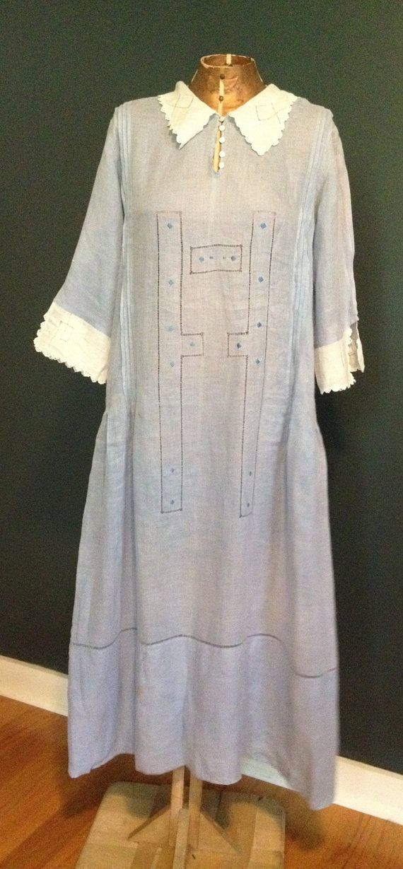 twenties day dress flapper cotton dress blue by violetrayvintage