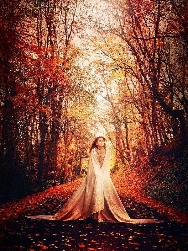 autumn, girl, cape, shine, walk