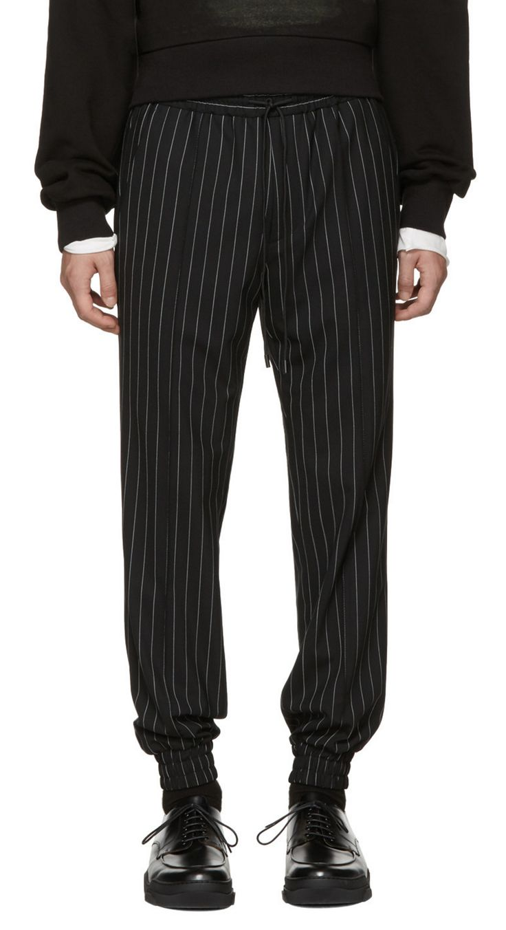Juun.J Black Pinstripe Drawstring Trousers from SSENSE (men, style, fashion, clothing, shopping, recommendations, stylish, menswear, male, streetstyle, inspo, outfit, fall, winter, spring, summer, personal) http://www.99wtf.net/trends/jackets-urban-fashion-men/