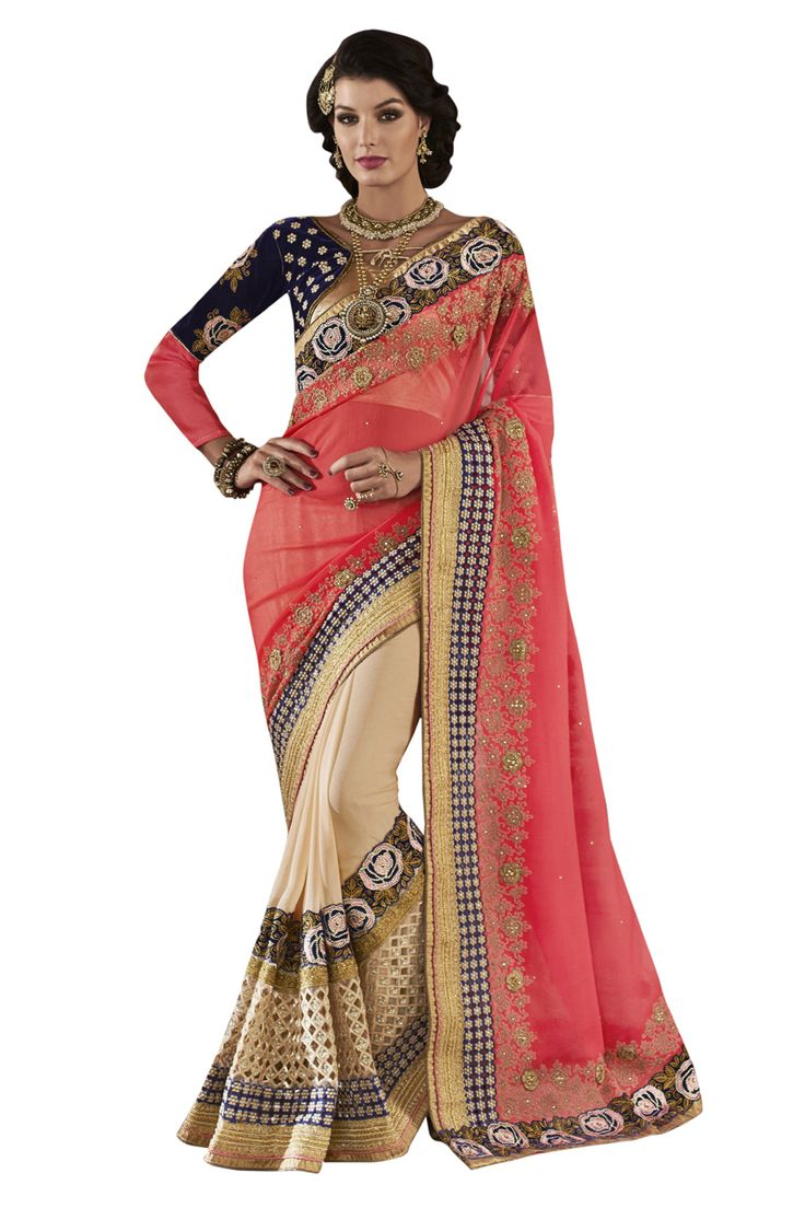 Buy Now Pink-Cream Fancy Embroidery Georgette Chiffon Half-Half Wedding Wear Saree only at Lalgulal.com. Price :- 4,152/- inr. To Order :- http://goo.gl/WAu2rz COD & Free Shipping Available only in India