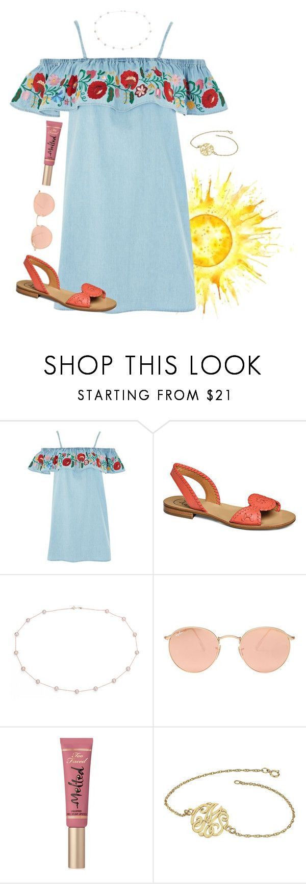 """""""it is well with my soul """" by siposey ❤ liked on Polyvore featuring Topshop, Jack Rogers, Blue Nile, Ray-Ban and Too Faced Cosmetics"""