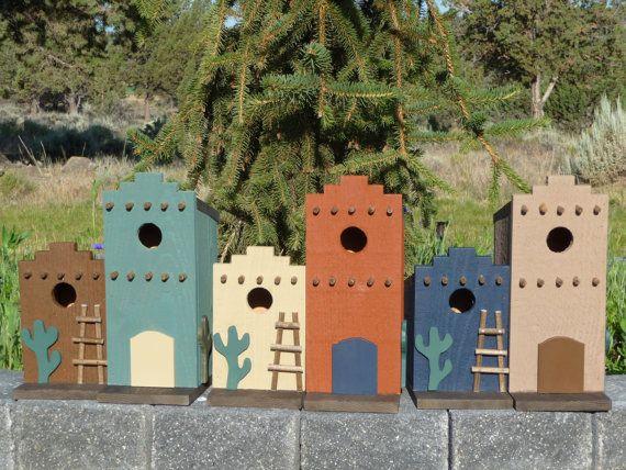 Southwestern adobe style birdhouses