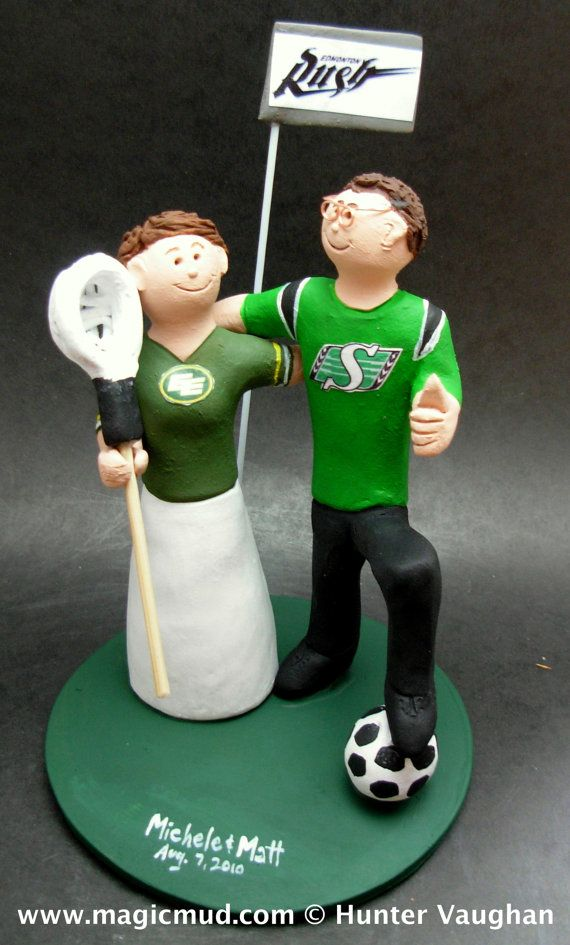 Soccer Bride and Groom Wedding Cake Topper      Soccer Wedding Cake Topper, custom created for you! Perfect for the marriage of a Soccer Playing Groom and his Bride!    $235   #magicmud   1 800 231 9814   www.magicmud.com