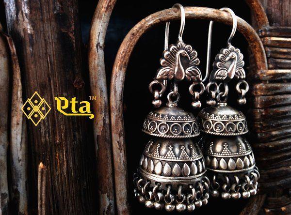 Silver Oxidised Peacock Jhumka | Buy Eta Jewels Designer Handcrafted Silver Jewelry Online