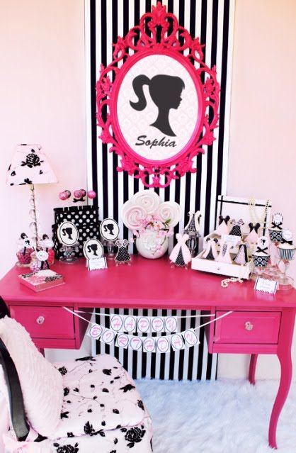 Vintage Barbie Birthday Party! - Barbie Doll Theme Party Ideas |  would look cute in a girls bedroom though