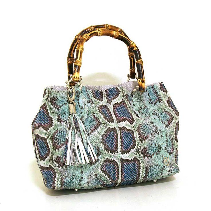 Leren handtas met croco print in turquoise - RUSH - Made in Italy