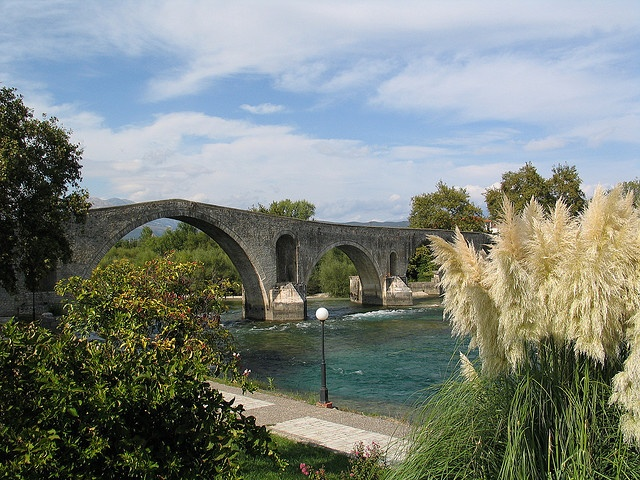 Historic Bridge of Arta / Άρτα - built in 1612 a. C. - Arachthos-River - North-West of the Greek Mainland near the Ambracian Gulf and Preveza - Epirus / Ipiros