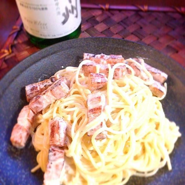 キッコーマンから出てる泡ですってw 姫リクエストのシンプルで - 40件のもぐもぐ - Cream pasta of Bacon✨ベーコンのクリームパスタ  by chef hubby by honeybunnyb