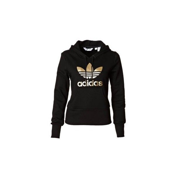 Adidas Originals TREFOIL HOOD - Sweatshirt - black/gold - Zalando.de found on Polyvore. WANT!