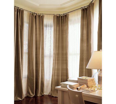 "Dupioni Silk Drape, 50 x 84"" Pole Pocket, Brownstone idea for living room windows..."