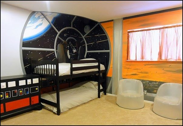 Outer space themed bedroom decorating ideas kids bedrooms for Outer space wallpaper for bedroom