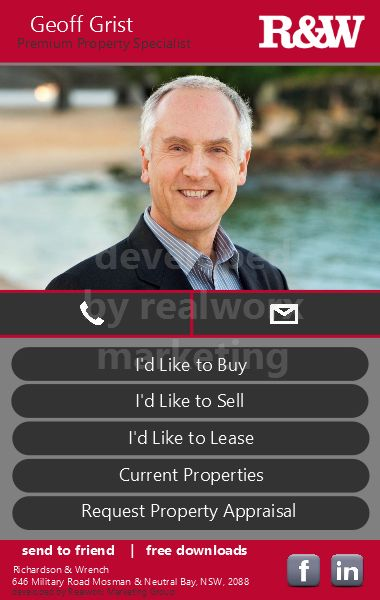 Geoff Grist R&W Real Estate  iCard by Realworx Marketing. Mobile App Design and Development Australia New Zealand USA UK www.whychoosegeoff.com.au