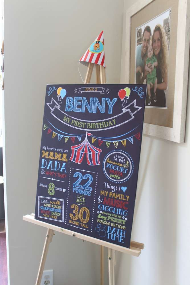Chalkboard sign at a circus birthday party! See more party planning ideas at CatchMyParty.com!