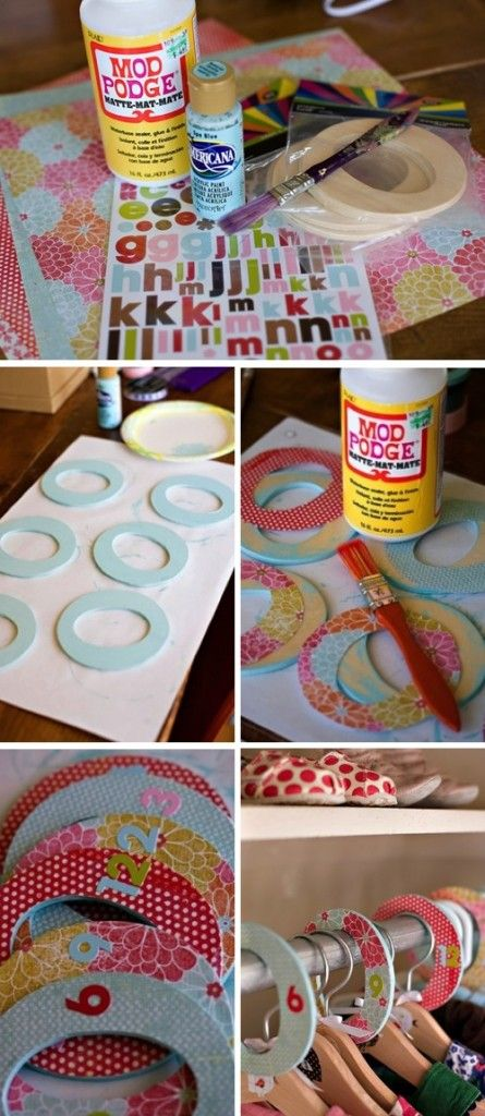DIY Closet Dividers For Baby's Room but instead use the dividers as picture frames on your scrapbook pages and you can make them any color to match the page! brilliant!