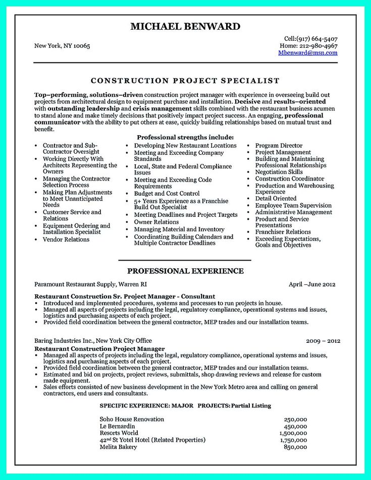 14 best Resumes images on Pinterest Resume examples, Resume help - construction superintendent resume templates
