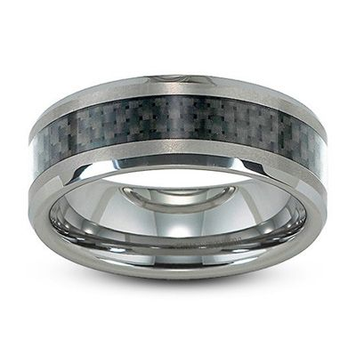 Zales Mens 8.0mm Spiked Flat Wedding Band in Titanium