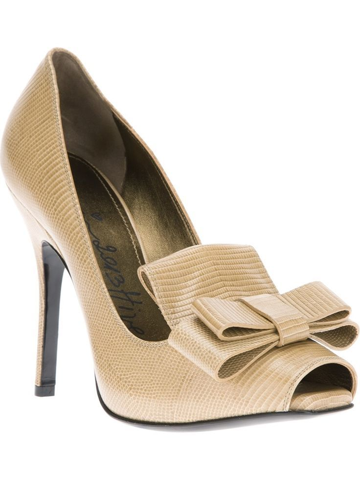 Beige leather pumps from Lanvin featuring a peep toe, a bow embellishment  to the front, a gold-tone insole with a brand print and a stiletto heel.