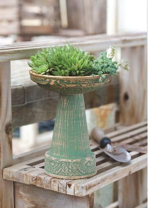 Mini Bird Bath is hand made with wonderful attention to detail. Attract songbirds and keep them around with this unique art piece, makes a great planter too! Cl