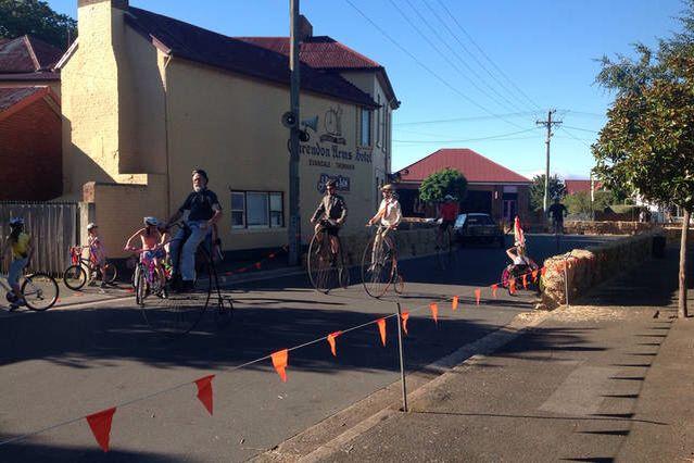 National Penny Farthing championship, every February Evandale Tasmania